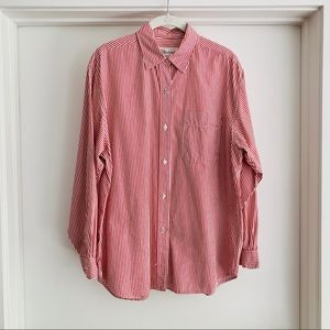Burberry Vintage Red Striped Button Down Shirt